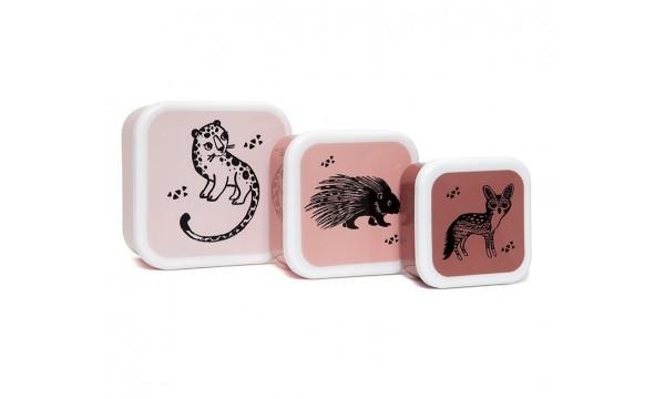 PETIT MONKEY|Priešpiečių dėžučių rinkinys, 3 vnt.|BLACK ANIMALS